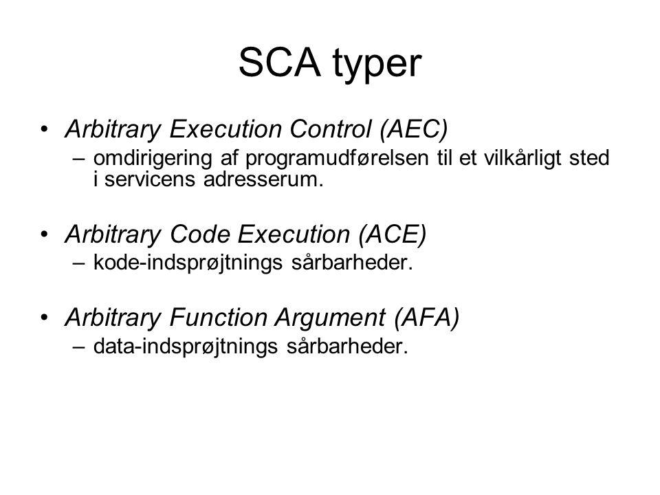 SCA typer Arbitrary Execution Control (AEC) –omdirigering af programudførelsen til et vilkårligt sted i servicens adresserum.