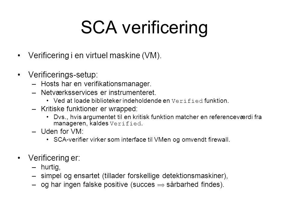 SCA verificering Verificering i en virtuel maskine (VM).