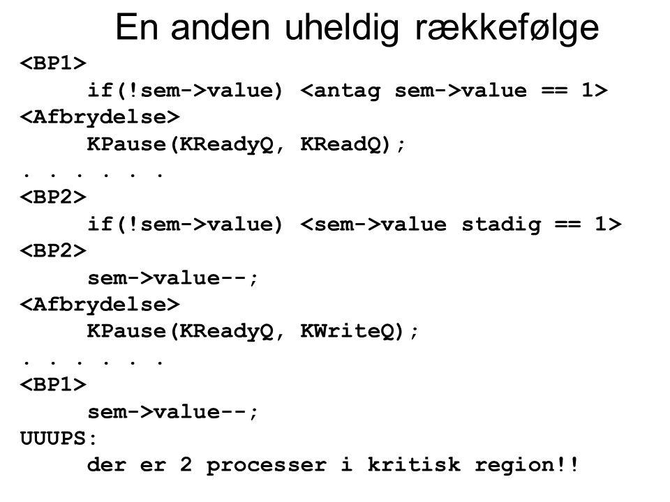 En anden uheldig rækkefølge if(!sem->value) value == 1> KPause(KReadyQ, KReadQ);...