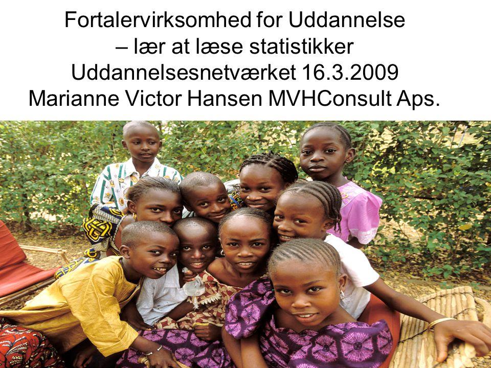 Fortalervirksomhed for Uddannelse – lær at læse statistikker Uddannelsesnetværket 16.3.2009 Marianne Victor Hansen MVHConsult Aps.