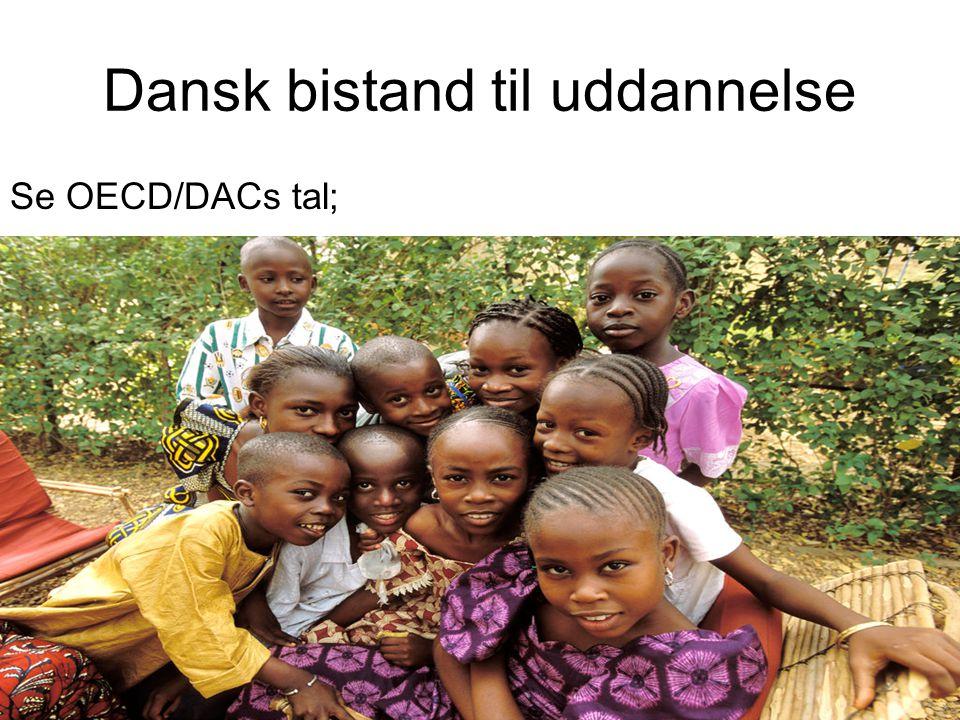 Dansk bistand til uddannelse Se OECD/DACs tal; http://stats.oecd.org/wbos/ Hvilken andel af dansk støtte til uddannelse går til grunduddannelse.