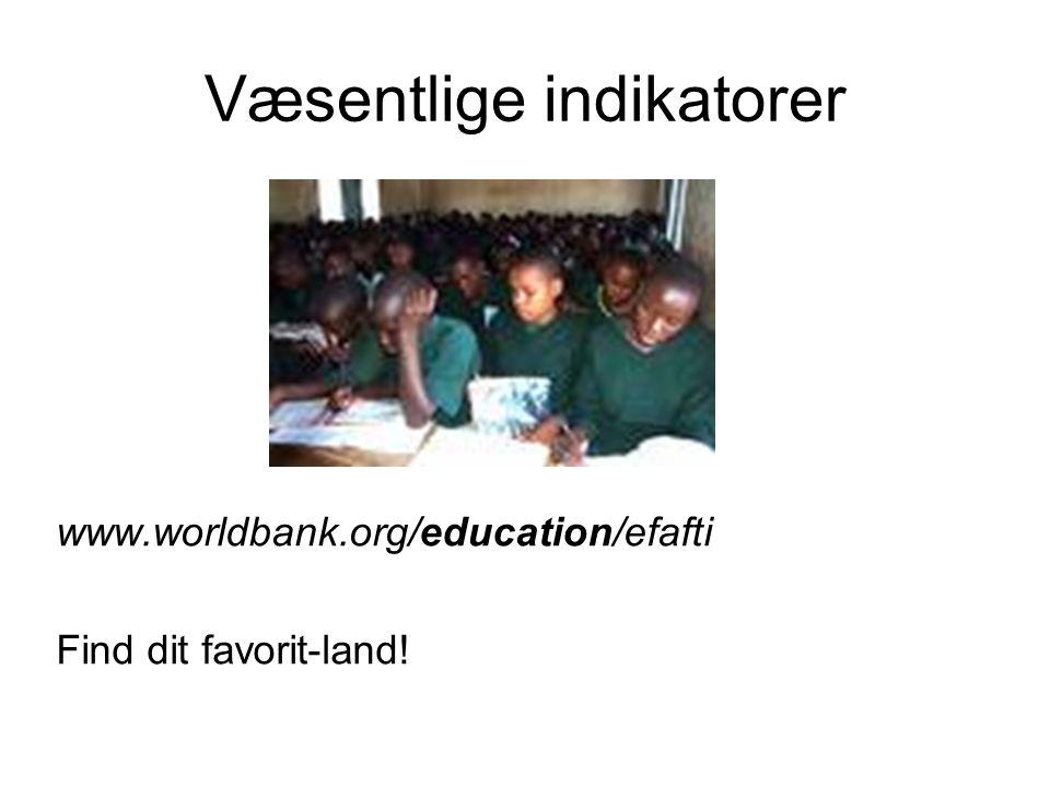 Væsentlige indikatorer www.worldbank.org/education/efafti Find dit favorit-land!