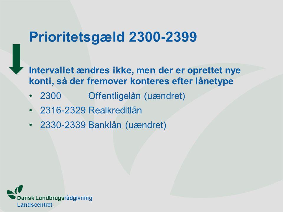 Dansk Landbrugsrådgivning Landscentret Prioritetsgæld 2300-2399 Intervallet ændres ikke, men der er oprettet nye konti, så der fremover konteres efter lånetype 2300 Offentligelån (uændret) 2316-2329Realkreditlån 2330-2339Banklån (uændret)