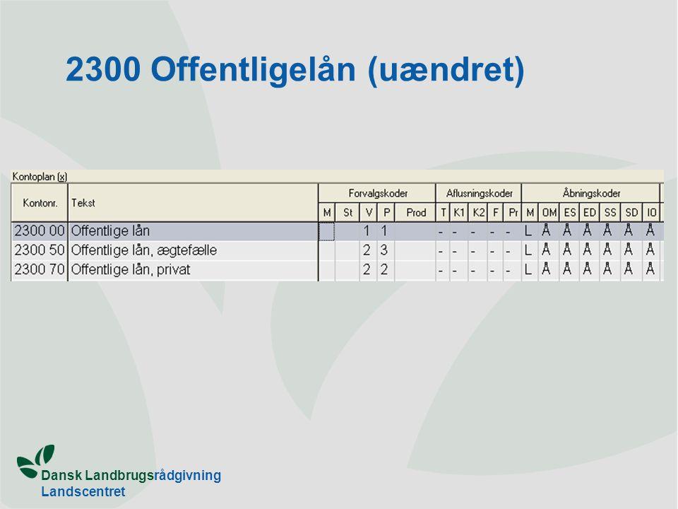 Dansk Landbrugsrådgivning Landscentret 2300 Offentligelån (uændret)