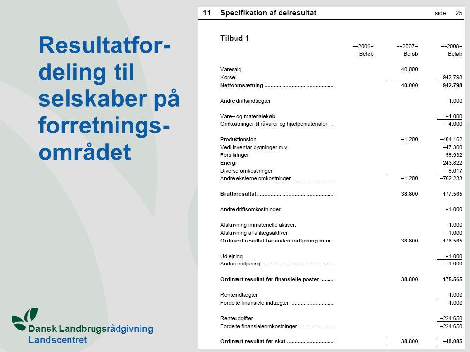 Dansk Landbrugsrådgivning Landscentret Resultatfor- deling til selskaber på forretnings- området