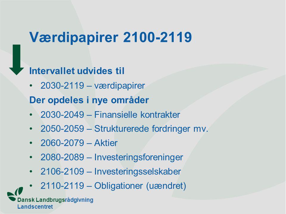 Dansk Landbrugsrådgivning Landscentret Værdipapirer 2100-2119 Intervallet udvides til 2030-2119 – værdipapirer Der opdeles i nye områder 2030-2049 – Finansielle kontrakter 2050-2059 – Strukturerede fordringer mv.