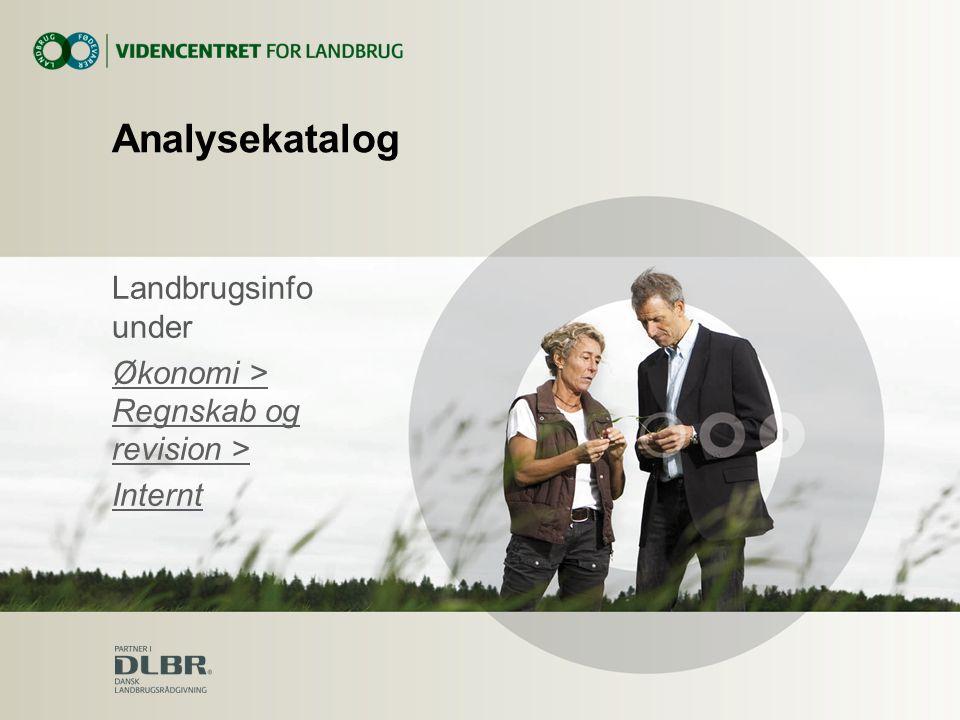 Analysekatalog Landbrugsinfo under Økonomi > Regnskab og revision > Internt