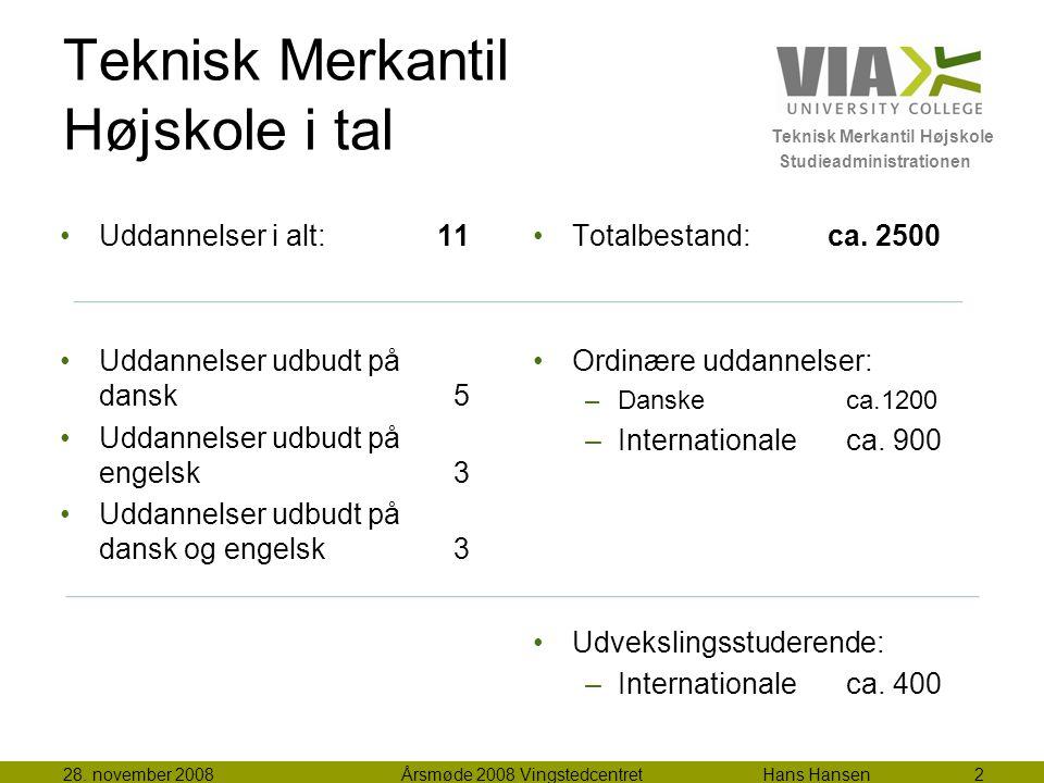 Teknisk Merkantil Højskole Studieadministrationen Teknisk Merkantil Højskole i tal Totalbestand: ca.