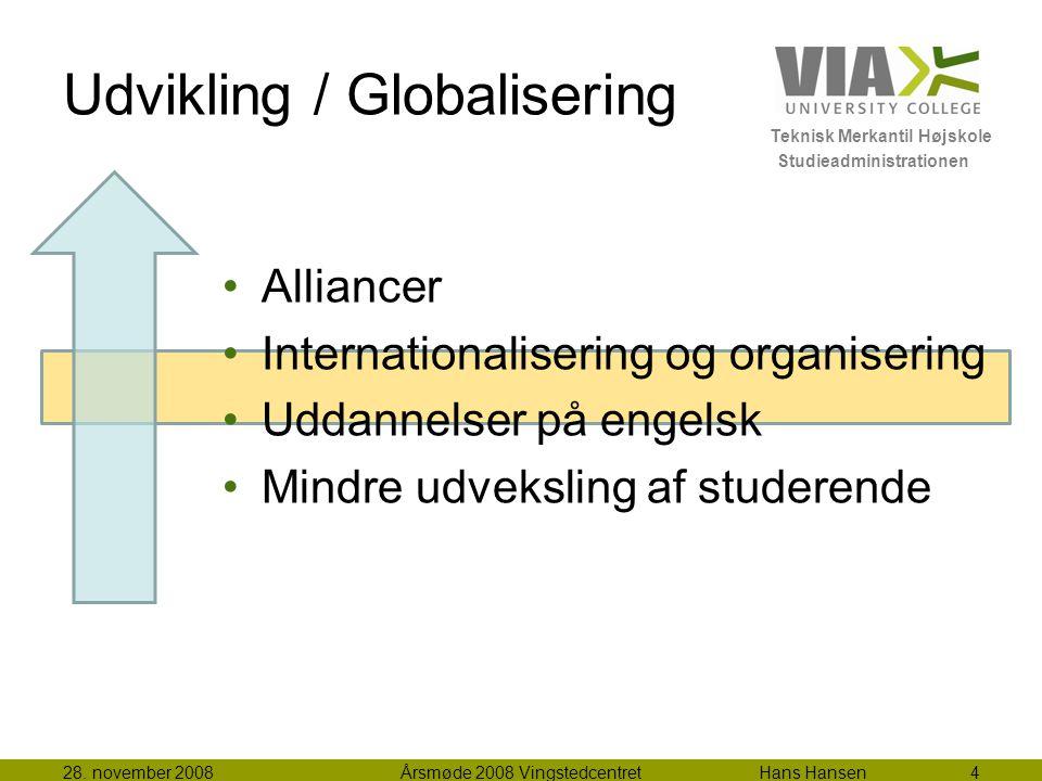Teknisk Merkantil Højskole Studieadministrationen Udvikling / Globalisering Alliancer Internationalisering og organisering Uddannelser på engelsk Mindre udveksling af studerende 28.