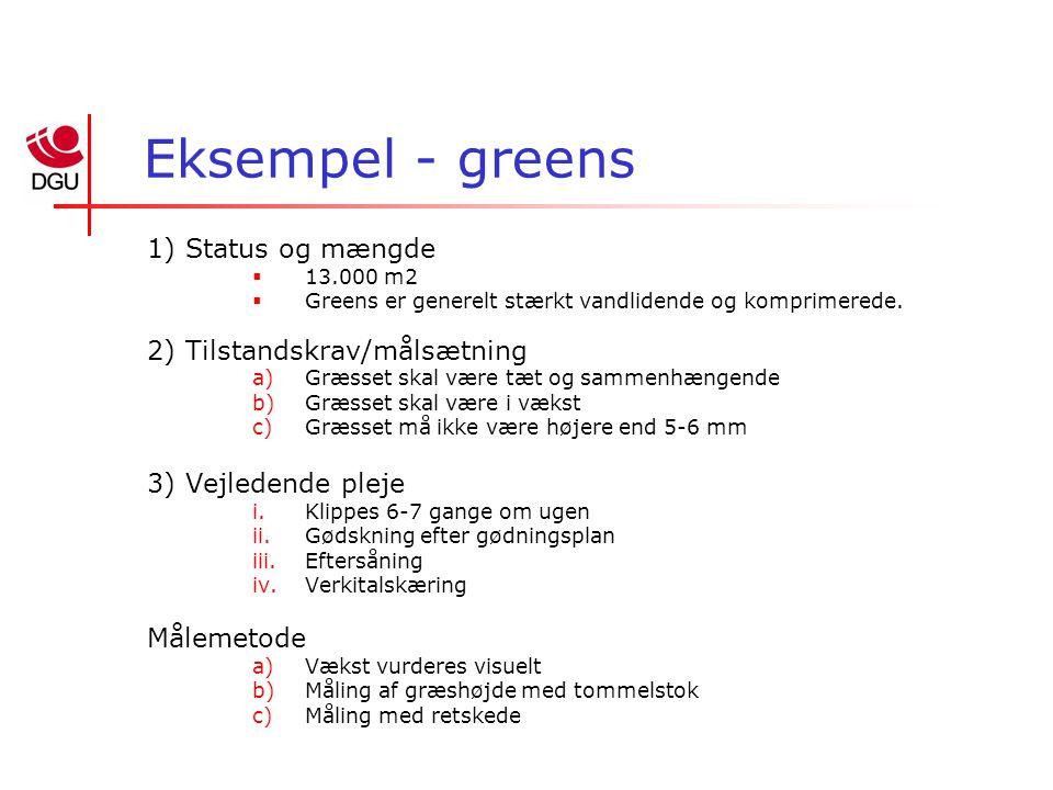 Eksempel - greens 1) Status og mængde  13.000 m2  Greens er generelt stærkt vandlidende og komprimerede.