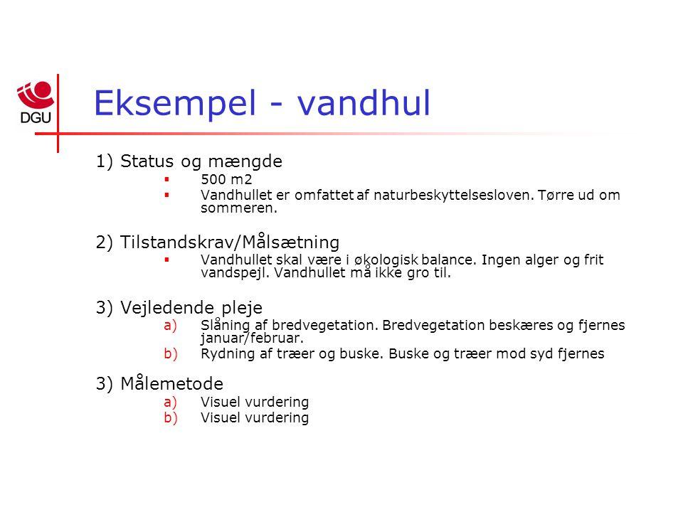 Eksempel - vandhul 1) Status og mængde  500 m2  Vandhullet er omfattet af naturbeskyttelsesloven.