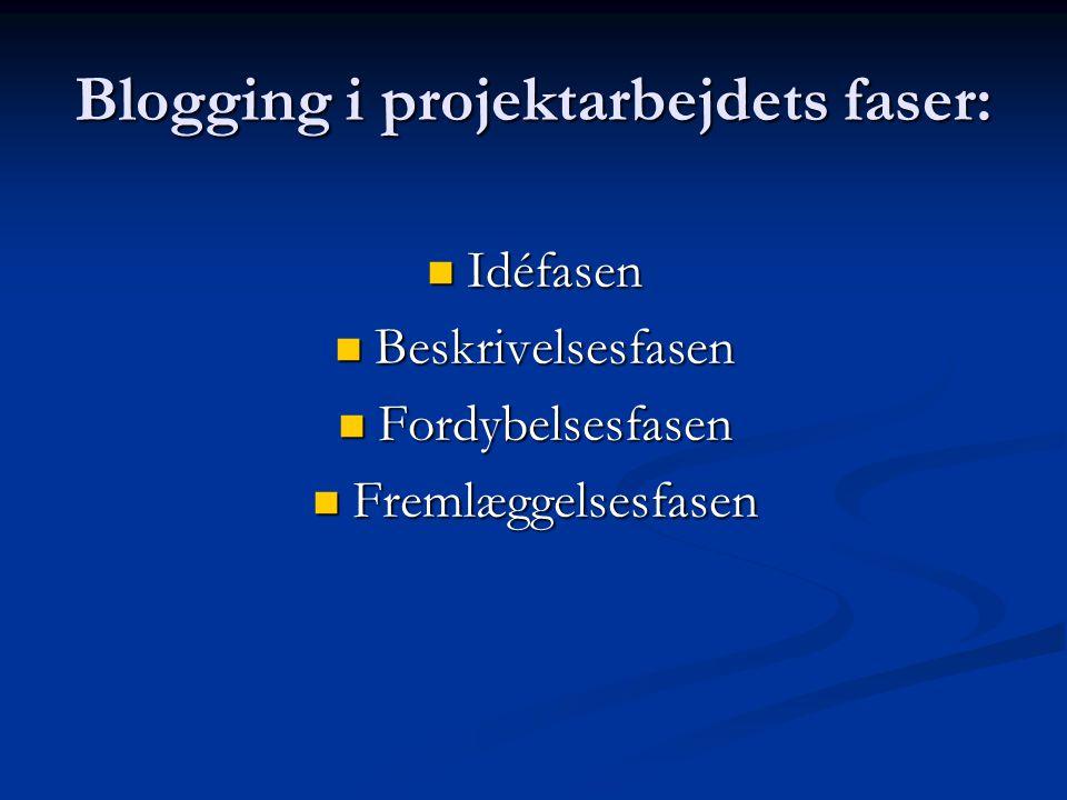 Blogging i projektarbejdets faser: Idéfasen Idéfasen Beskrivelsesfasen Beskrivelsesfasen Fordybelsesfasen Fordybelsesfasen Fremlæggelsesfasen Fremlæggelsesfasen