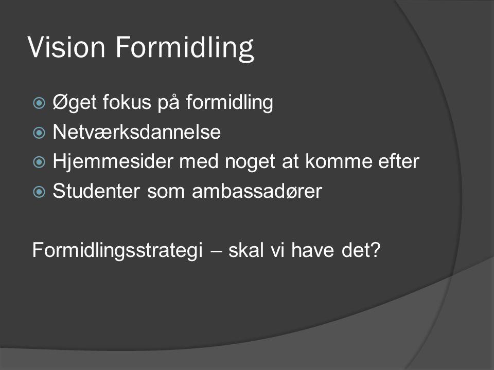 Vision Formidling  Øget fokus på formidling  Netværksdannelse  Hjemmesider med noget at komme efter  Studenter som ambassadører Formidlingsstrategi – skal vi have det