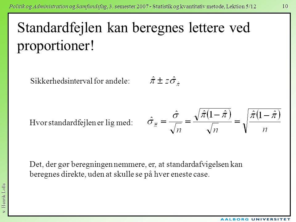 v. Henrik Lolle Politik og Administration og Samfundsfag, 3. semester 2007 - Statistik og kvantitativ metode, Lektion 5/12 10 Standardfejlen kan bereg