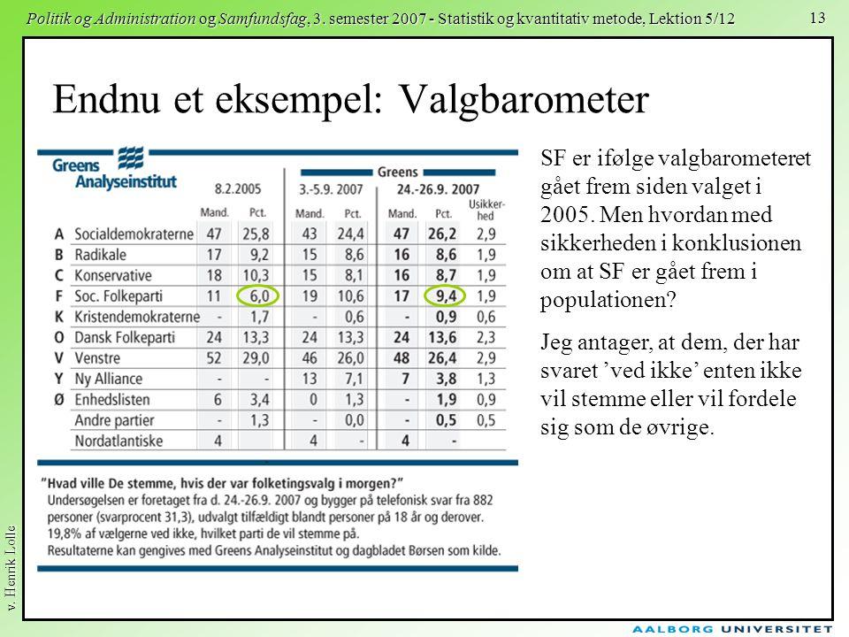 v. Henrik Lolle Politik og Administration og Samfundsfag, 3. semester 2007 - Statistik og kvantitativ metode, Lektion 5/12 13 Endnu et eksempel: Valgb