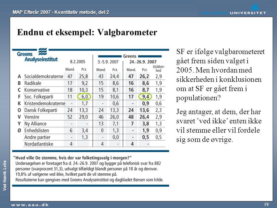Ved Henrik Lolle MAP Efterår 2007 - Kvantitativ metode, del 2 19 Endnu et eksempel: Valgbarometer SF er ifølge valgbarometeret gået frem siden valget