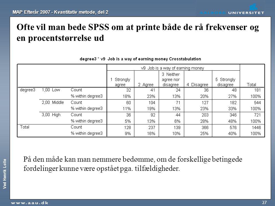 Ved Henrik Lolle MAP Efterår 2007 - Kvantitativ metode, del 2 27 Ofte vil man bede SPSS om at printe både de rå frekvenser og en procentstørrelse ud P