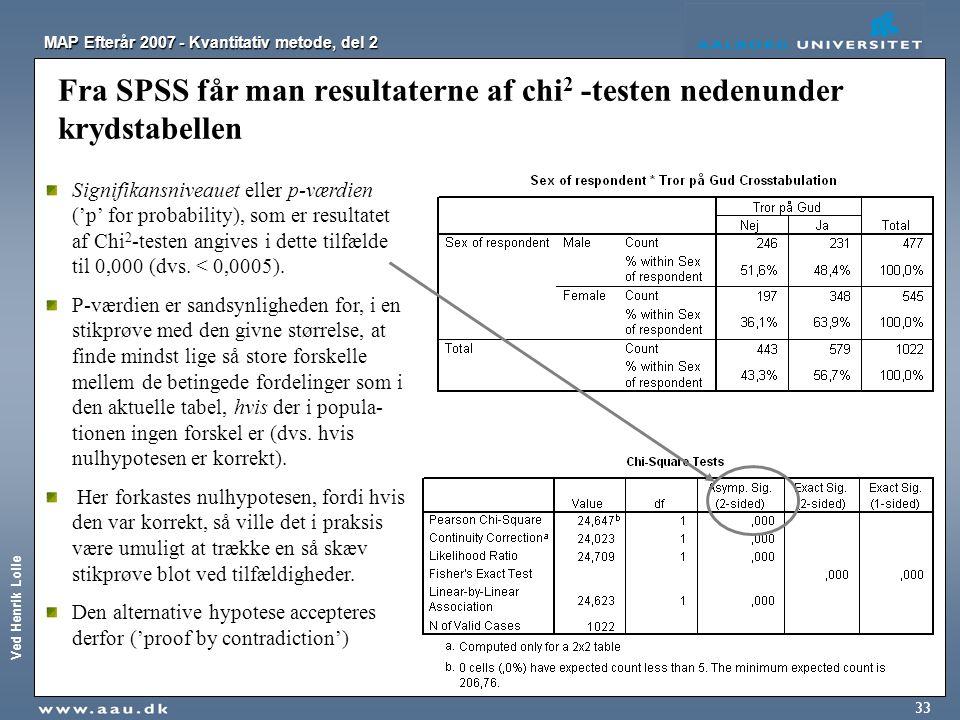 Ved Henrik Lolle MAP Efterår 2007 - Kvantitativ metode, del 2 33 Fra SPSS får man resultaterne af chi 2 -testen nedenunder krydstabellen Signifikansni