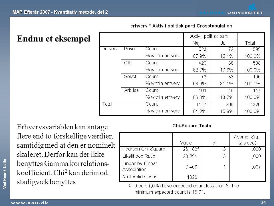 Ved Henrik Lolle MAP Efterår 2007 - Kvantitativ metode, del 2 34 Endnu et eksempel Erhvervsvariablen kan antage flere end to forskellige værdier, samt
