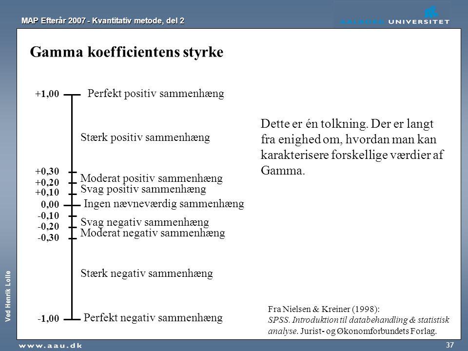Ved Henrik Lolle MAP Efterår 2007 - Kvantitativ metode, del 2 37 Gamma koefficientens styrke +1,00 -1,00 0,00 +0,10 +0,30 -0,10 -0,30 Ingen nævneværdi