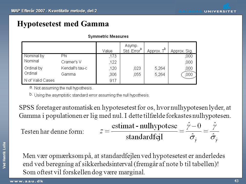 Ved Henrik Lolle MAP Efterår 2007 - Kvantitativ metode, del 2 43 Hypotesetest med Gamma SPSS foretager automatisk en hypotesetest for os, hvor nulhypo