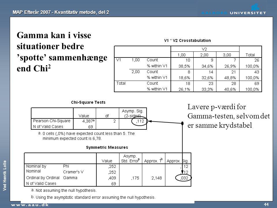 Ved Henrik Lolle MAP Efterår 2007 - Kvantitativ metode, del 2 44 Gamma kan i visse situationer bedre 'spotte' sammenhænge end Chi 2 Lavere p-værdi for