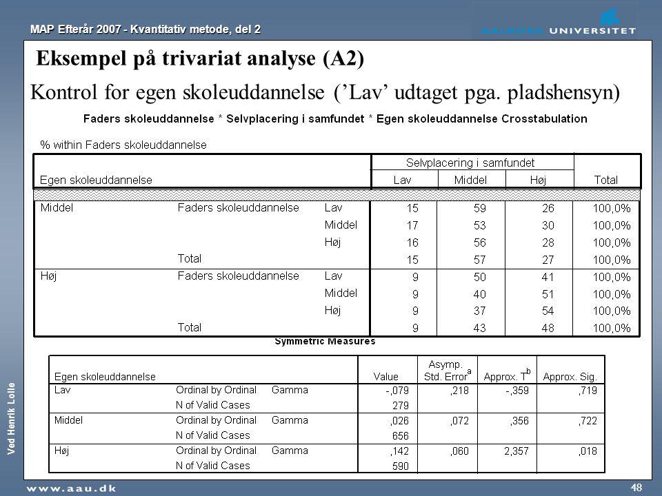 Ved Henrik Lolle MAP Efterår 2007 - Kvantitativ metode, del 2 48 Eksempel på trivariat analyse (A2) Kontrol for egen skoleuddannelse ('Lav' udtaget pg