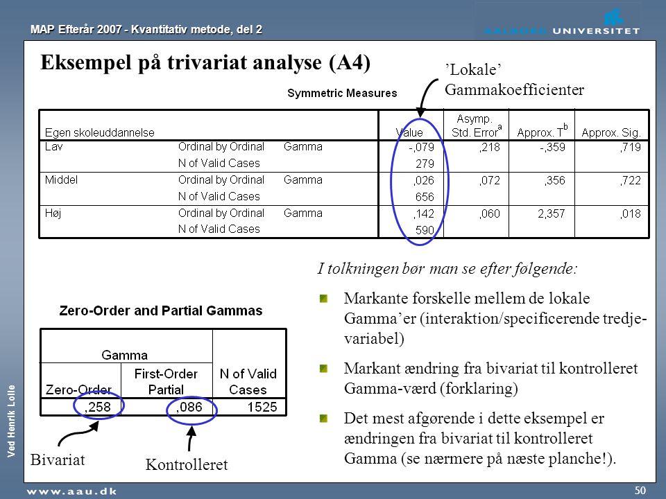 Ved Henrik Lolle MAP Efterår 2007 - Kvantitativ metode, del 2 50 Eksempel på trivariat analyse (A4) I tolkningen bør man se efter følgende: Markante f