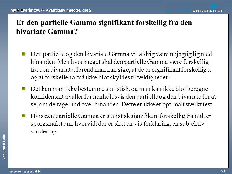 Ved Henrik Lolle MAP Efterår 2007 - Kvantitativ metode, del 2 53 Er den partielle Gamma signifikant forskellig fra den bivariate Gamma? Den partielle