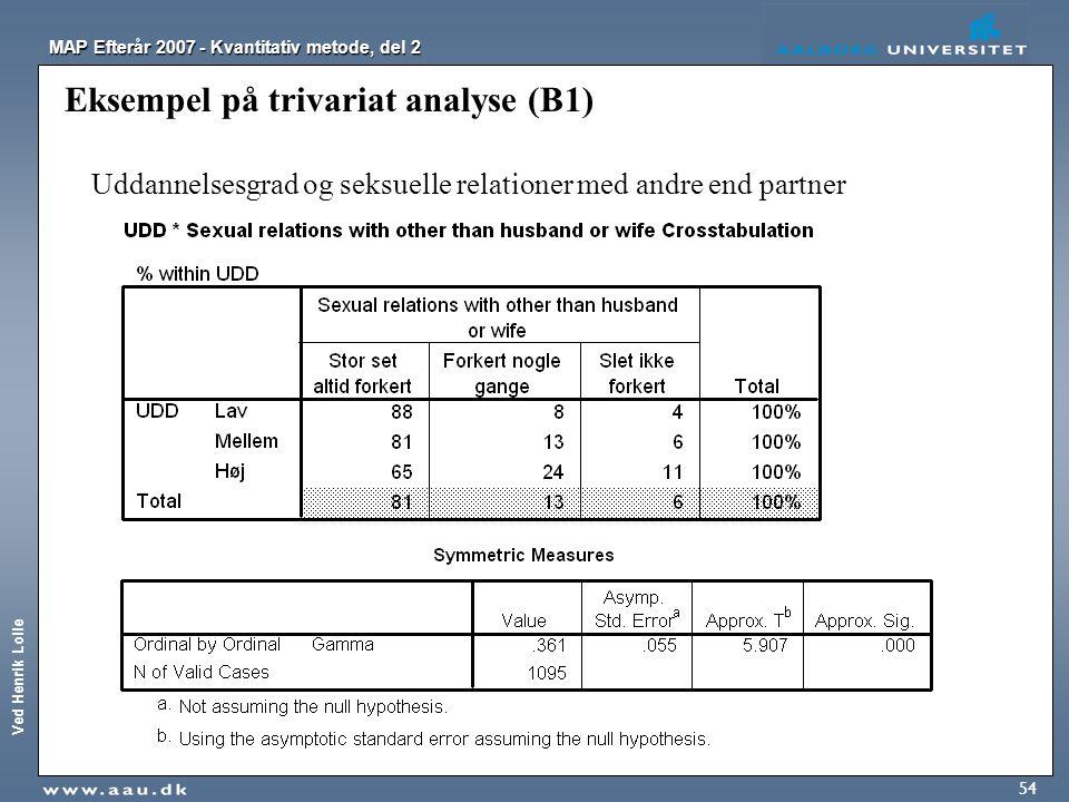 Ved Henrik Lolle MAP Efterår 2007 - Kvantitativ metode, del 2 54 Eksempel på trivariat analyse (B1) Uddannelsesgrad og seksuelle relationer med andre