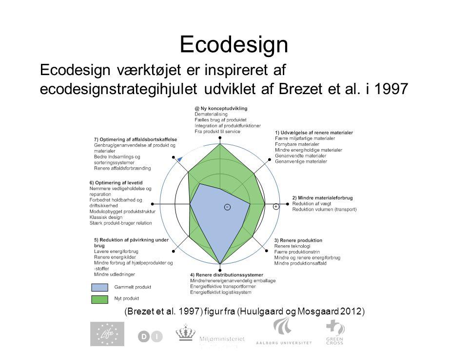 Ecodesign Ecodesign værktøjet er inspireret af ecodesignstrategihjulet udviklet af Brezet et al.