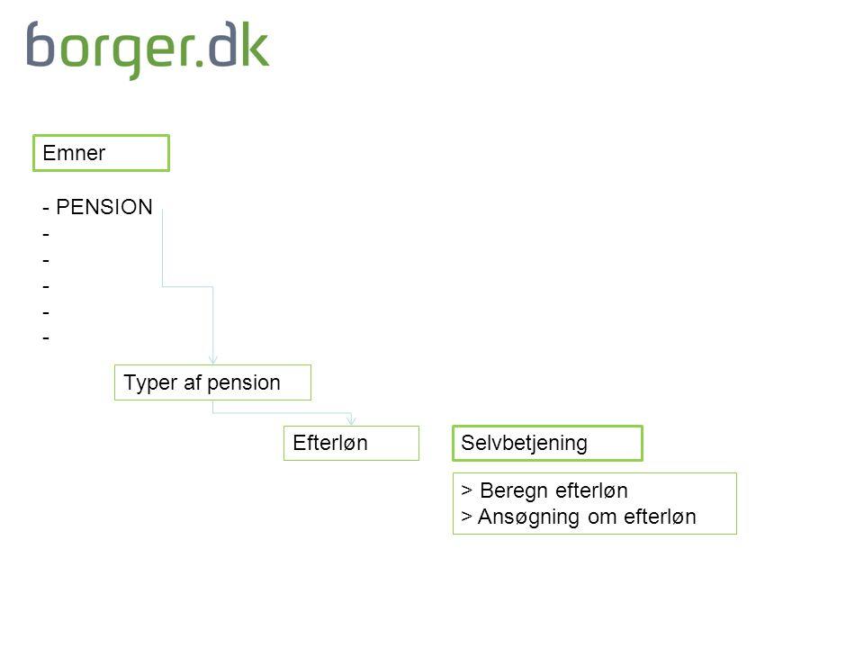 Emner Typer af pension Efterløn Selvbetjening > Beregn efterløn > Ansøgning om efterløn - PENSION -