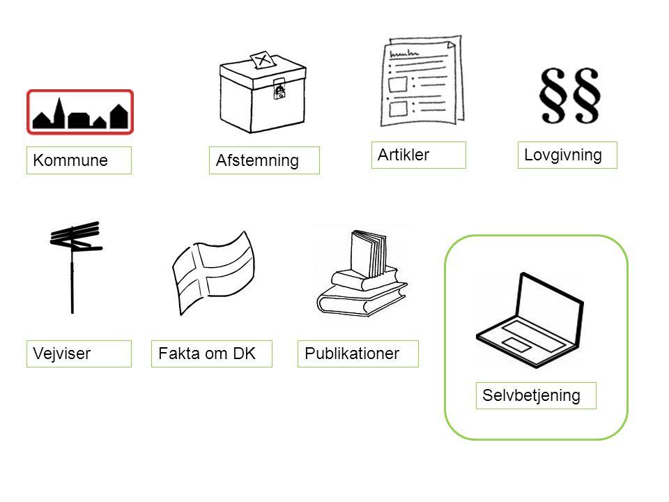 Artikler Fakta om DK Lovgivning Selvbetjening KommuneAfstemning Vejviser Publikationer