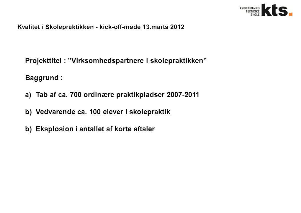 Kvalitet i Skolepraktikken - kick-off-møde 13.marts 2012 Projekttitel : Virksomhedspartnere i skolepraktikken Baggrund : a)Tab af ca.