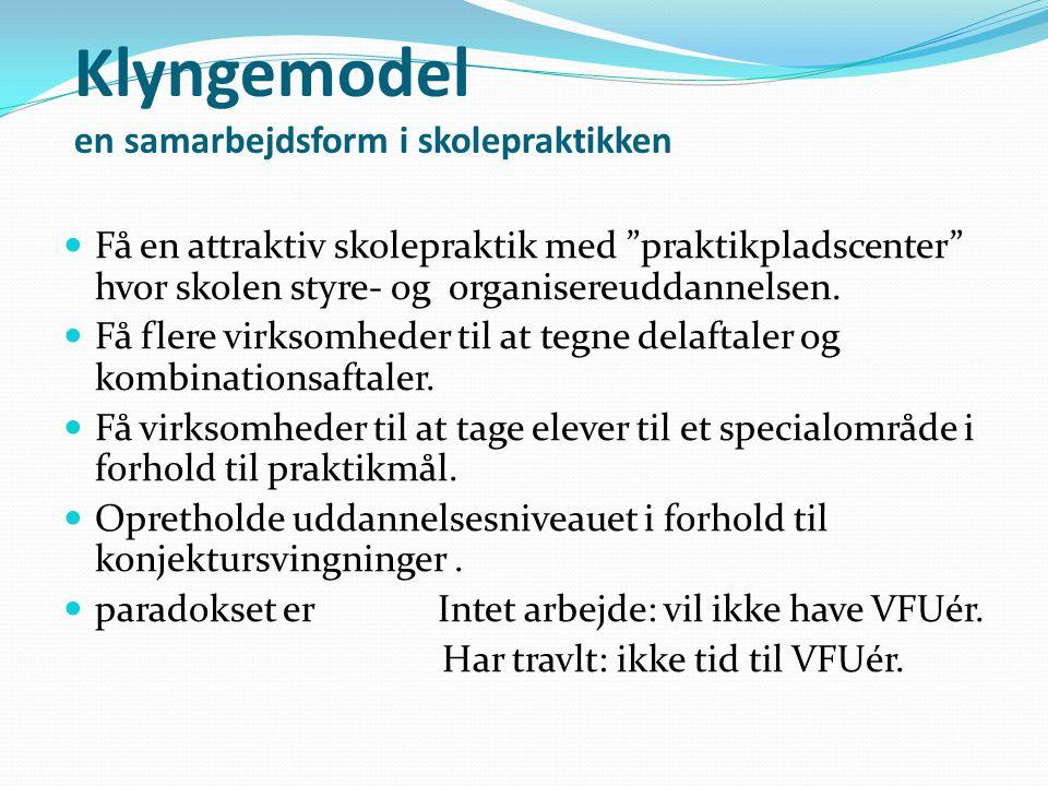 Klyngemodel en samarbejdsform i skolepraktikken Få en attraktiv skolepraktik med praktikpladscenter hvor skolen styre- og organisereuddannelsen.