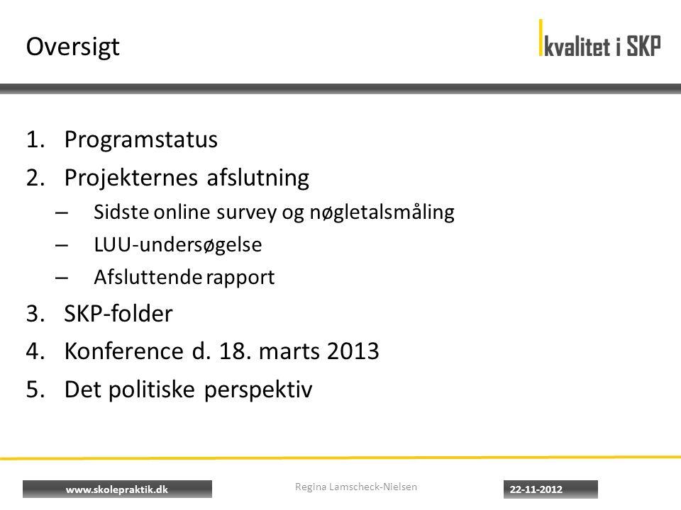 www.skolepraktik.dk Oversigt 1.Programstatus 2.Projekternes afslutning – Sidste online survey og nøgletalsmåling – LUU-undersøgelse – Afsluttende rapport 3.SKP-folder 4.Konference d.