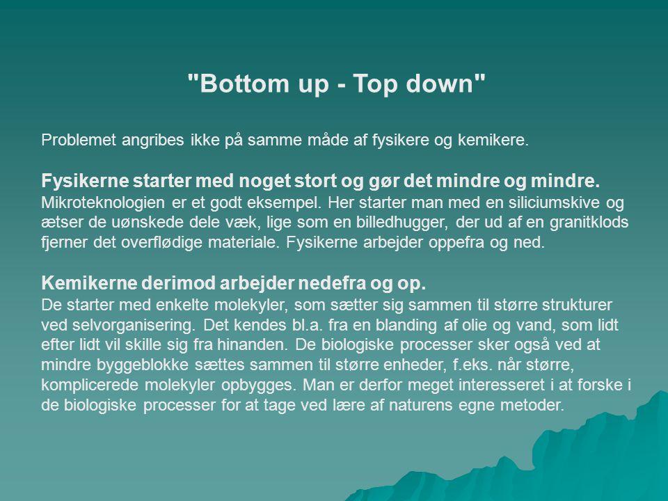 Bottom up - Top down Problemet angribes ikke på samme måde af fysikere og kemikere.