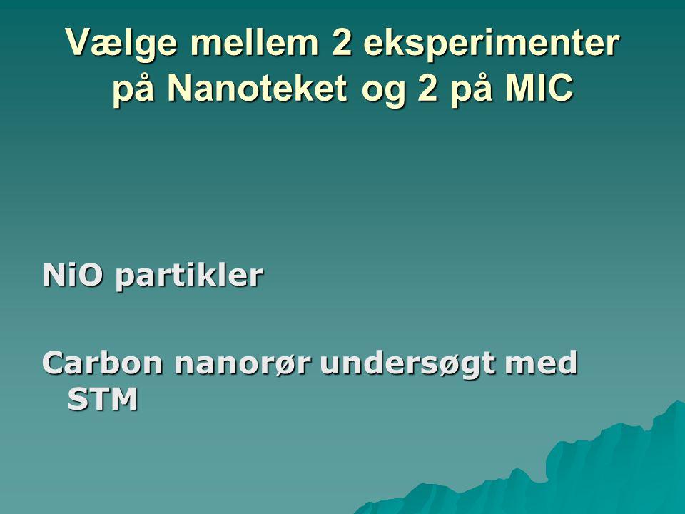 Vælge mellem 2 eksperimenter på Nanoteket og 2 på MIC NiO partikler Carbon nanorør undersøgt med STM