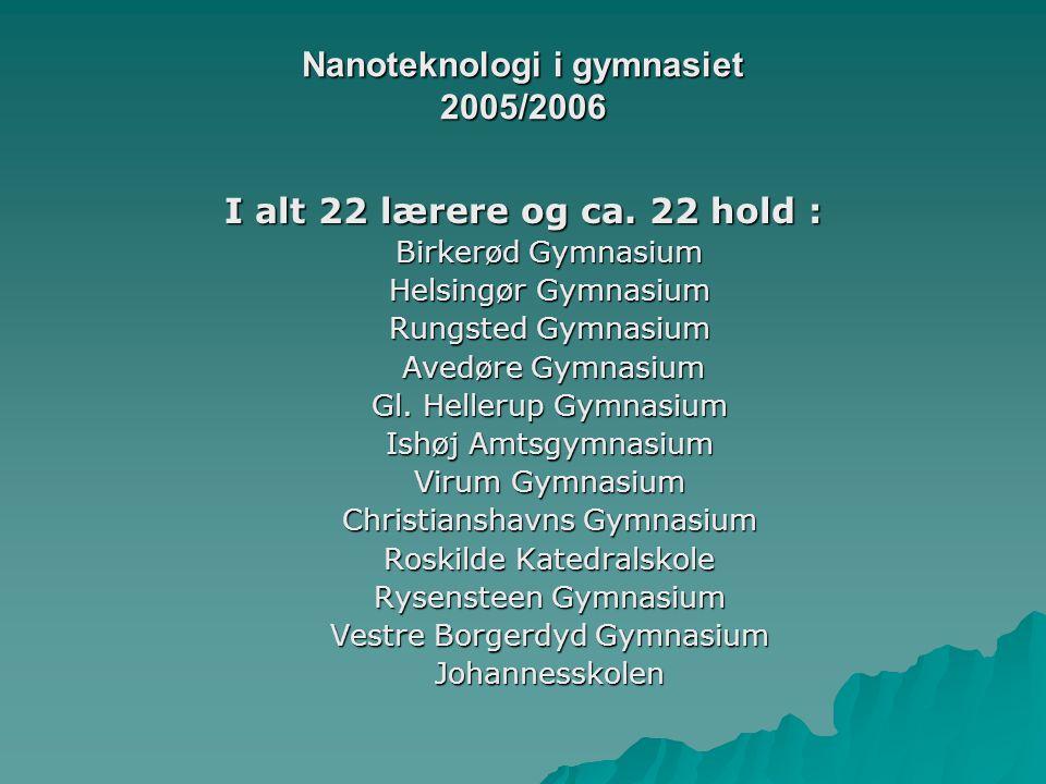 Nanoteknologi i gymnasiet 2005/2006 I alt 22 lærere og ca.