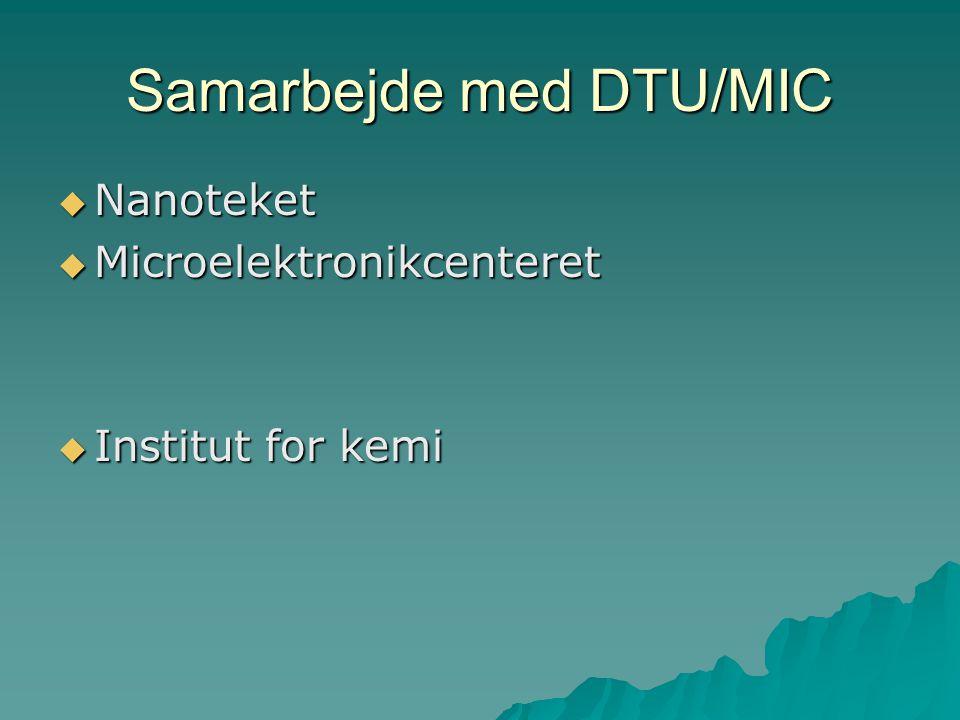 Samarbejde med DTU/MIC  Nanoteket  Microelektronikcenteret  Institut for kemi