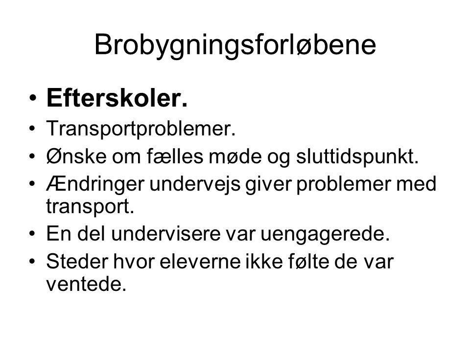Brobygningsforløbene Efterskoler. Transportproblemer.