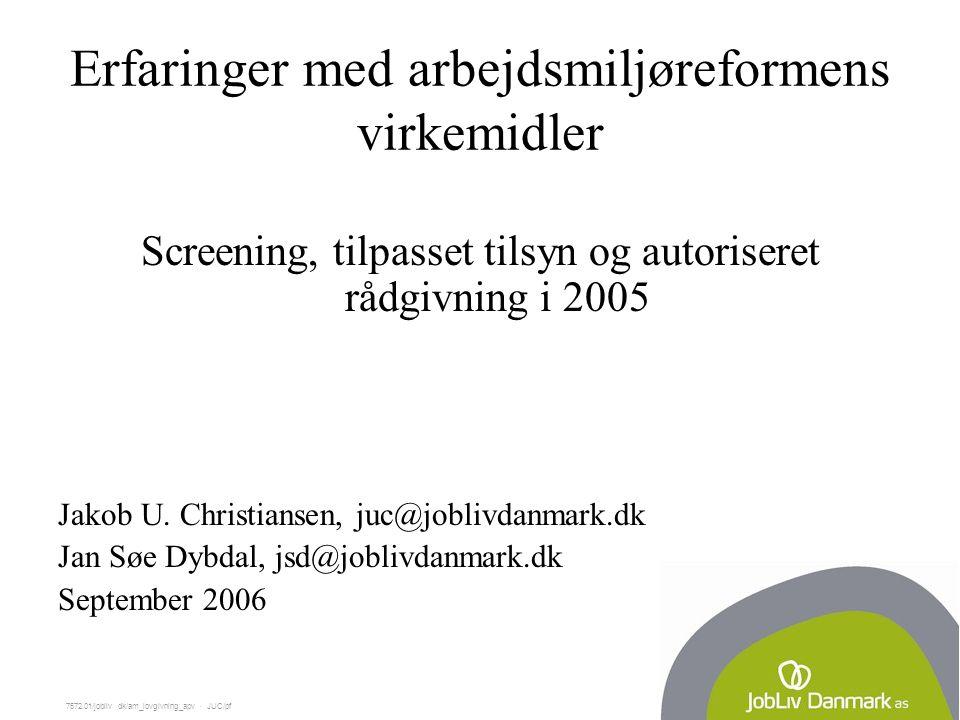 7572.01/jobliv dk/am_lovgivning_apv  JUC/pf Erfaringer med arbejdsmiljøreformens virkemidler Screening, tilpasset tilsyn og autoriseret rådgivning i 2005 Jakob U.