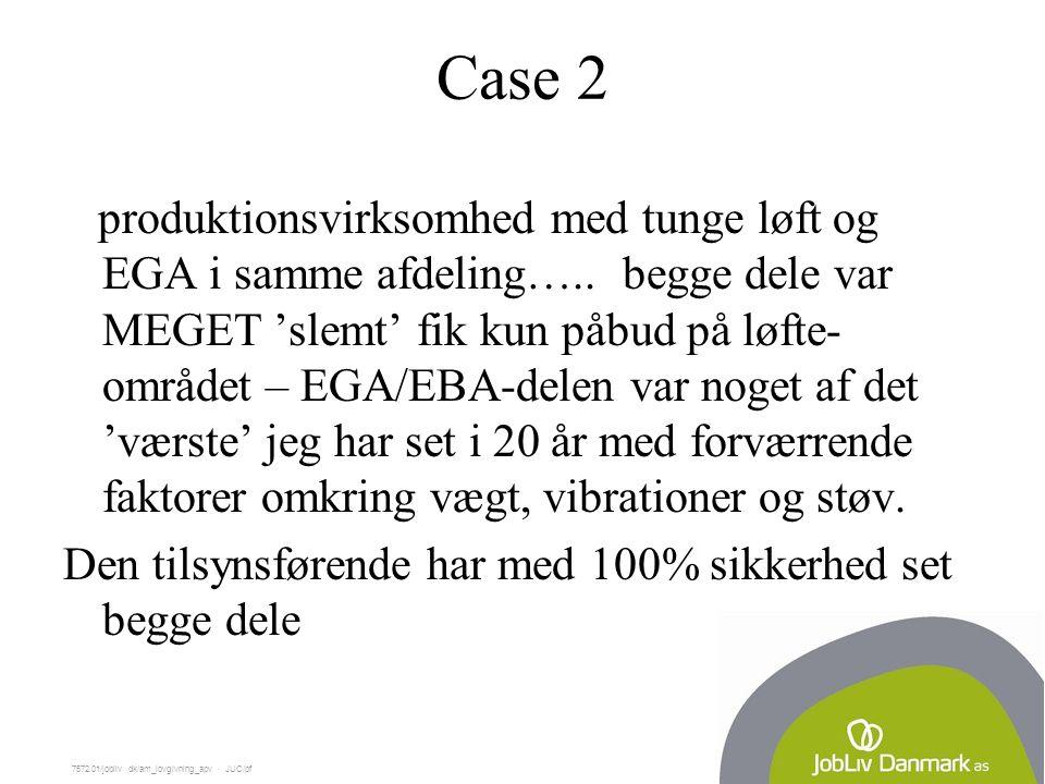 7572.01/jobliv dk/am_lovgivning_apv  JUC/pf Case 2 produktionsvirksomhed med tunge løft og EGA i samme afdeling…..