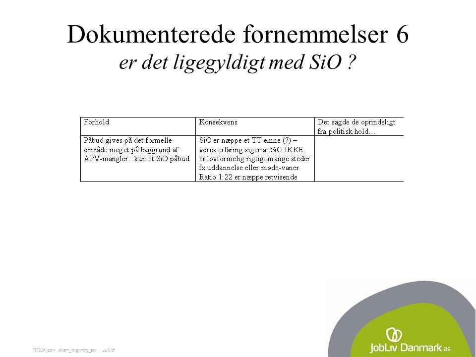 7572.01/jobliv dk/am_lovgivning_apv  JUC/pf Dokumenterede fornemmelser 6 er det ligegyldigt med SiO