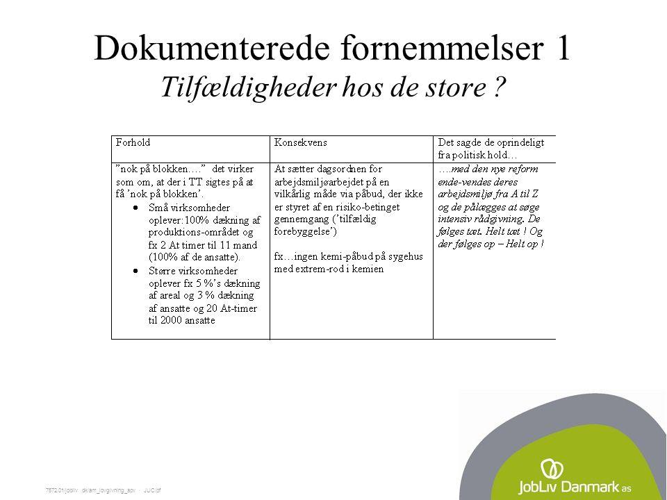 7572.01/jobliv dk/am_lovgivning_apv  JUC/pf Dokumenterede fornemmelser 1 Tilfældigheder hos de store