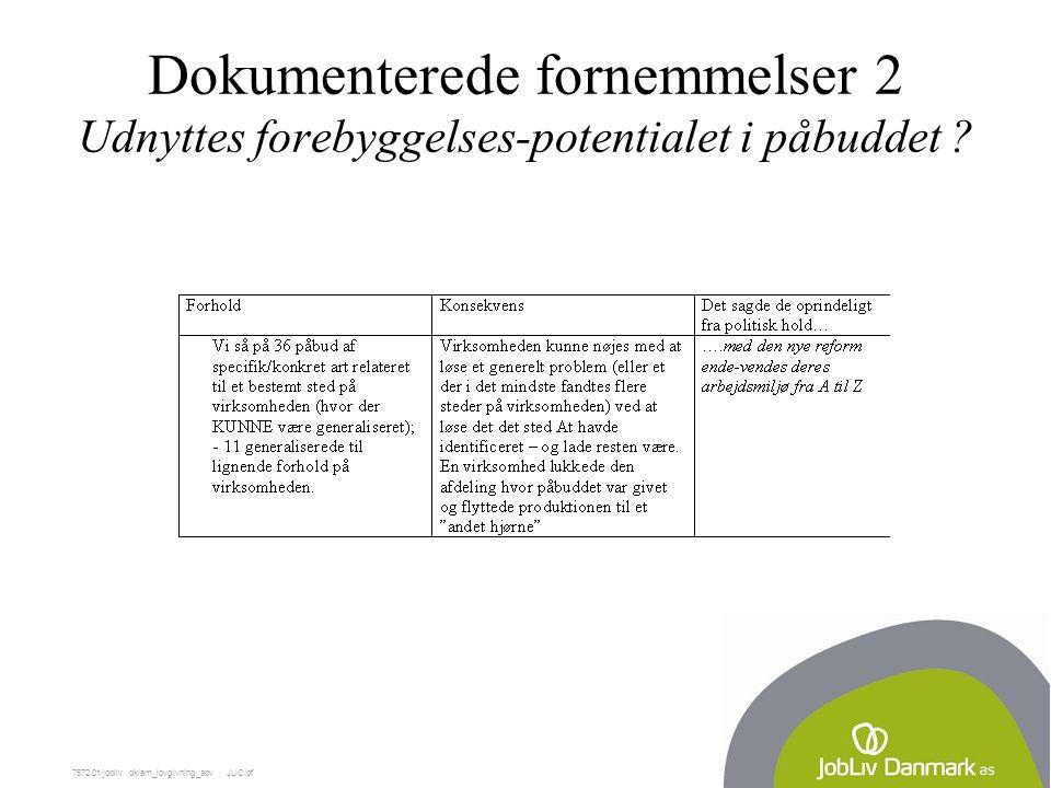 7572.01/jobliv dk/am_lovgivning_apv  JUC/pf Dokumenterede fornemmelser 2 Udnyttes forebyggelses-potentialet i påbuddet