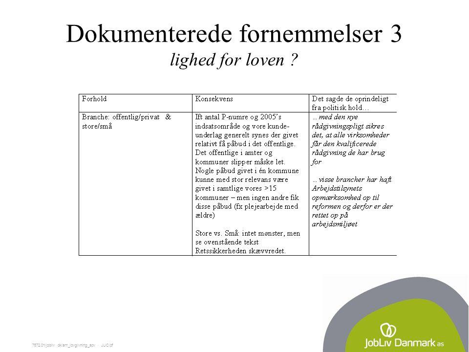 7572.01/jobliv dk/am_lovgivning_apv  JUC/pf Dokumenterede fornemmelser 3 lighed for loven