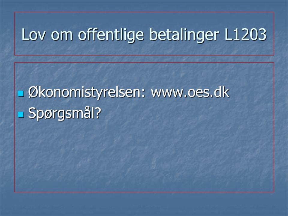 Lov om offentlige betalinger L1203 Økonomistyrelsen: www.oes.dk Økonomistyrelsen: www.oes.dk Spørgsmål.
