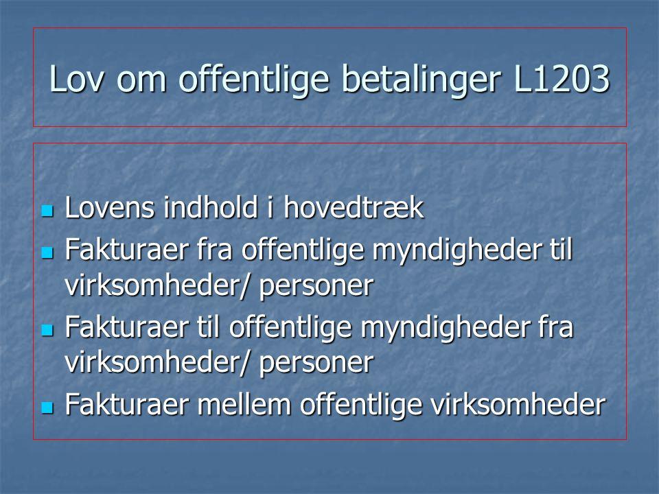 Lov om offentlige betalinger L1203 Lovens indhold i hovedtræk Lovens indhold i hovedtræk Fakturaer fra offentlige myndigheder til virksomheder/ personer Fakturaer fra offentlige myndigheder til virksomheder/ personer Fakturaer til offentlige myndigheder fra virksomheder/ personer Fakturaer til offentlige myndigheder fra virksomheder/ personer Fakturaer mellem offentlige virksomheder Fakturaer mellem offentlige virksomheder
