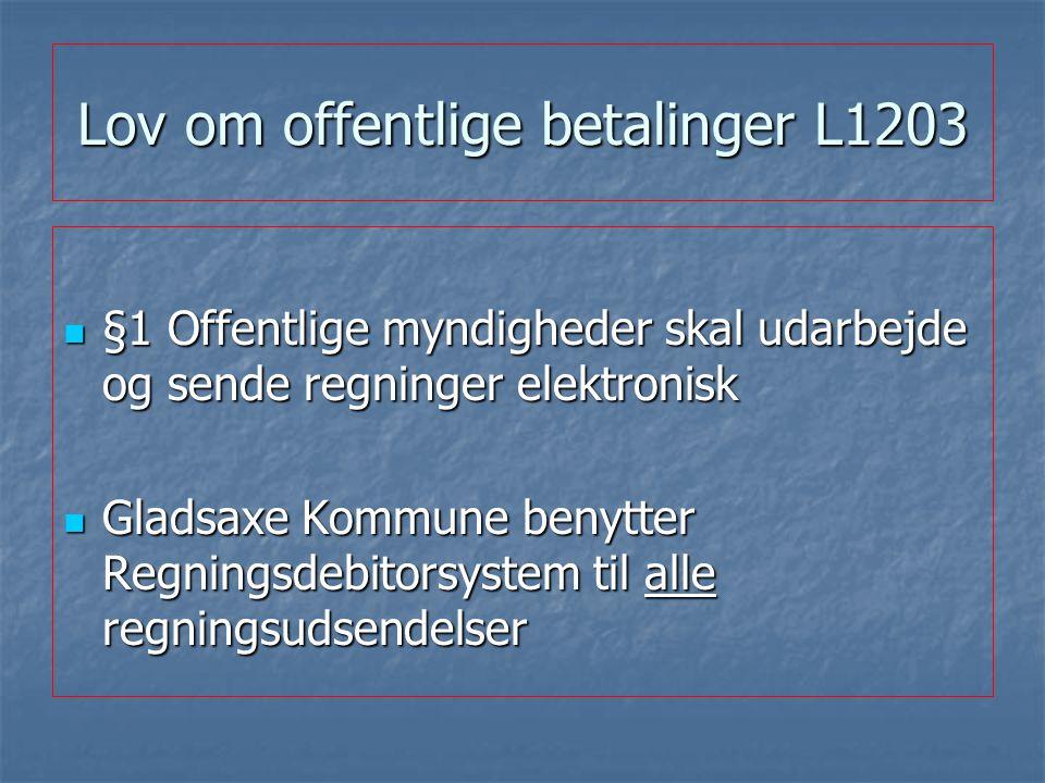 Lov om offentlige betalinger L1203 §1 Offentlige myndigheder skal udarbejde og sende regninger elektronisk §1 Offentlige myndigheder skal udarbejde og sende regninger elektronisk Gladsaxe Kommune benytter Regningsdebitorsystem til alle regningsudsendelser Gladsaxe Kommune benytter Regningsdebitorsystem til alle regningsudsendelser